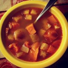 Moroccan-spiced roast veggie soup