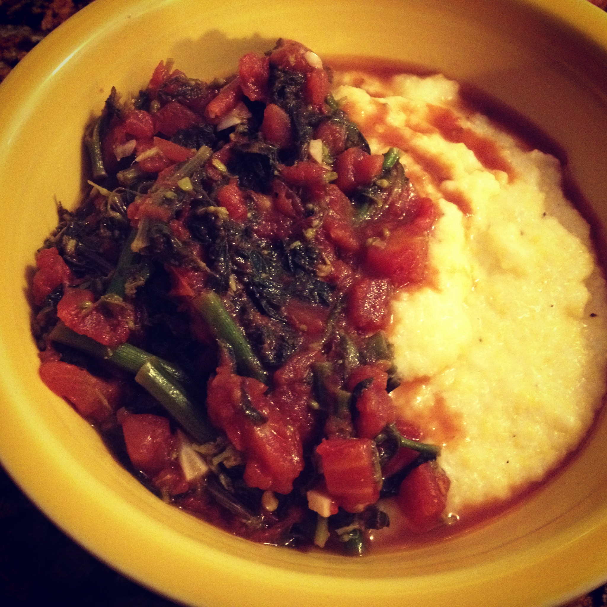 Rapini in tomato sauce with cheesy polenta. | cook.can.read