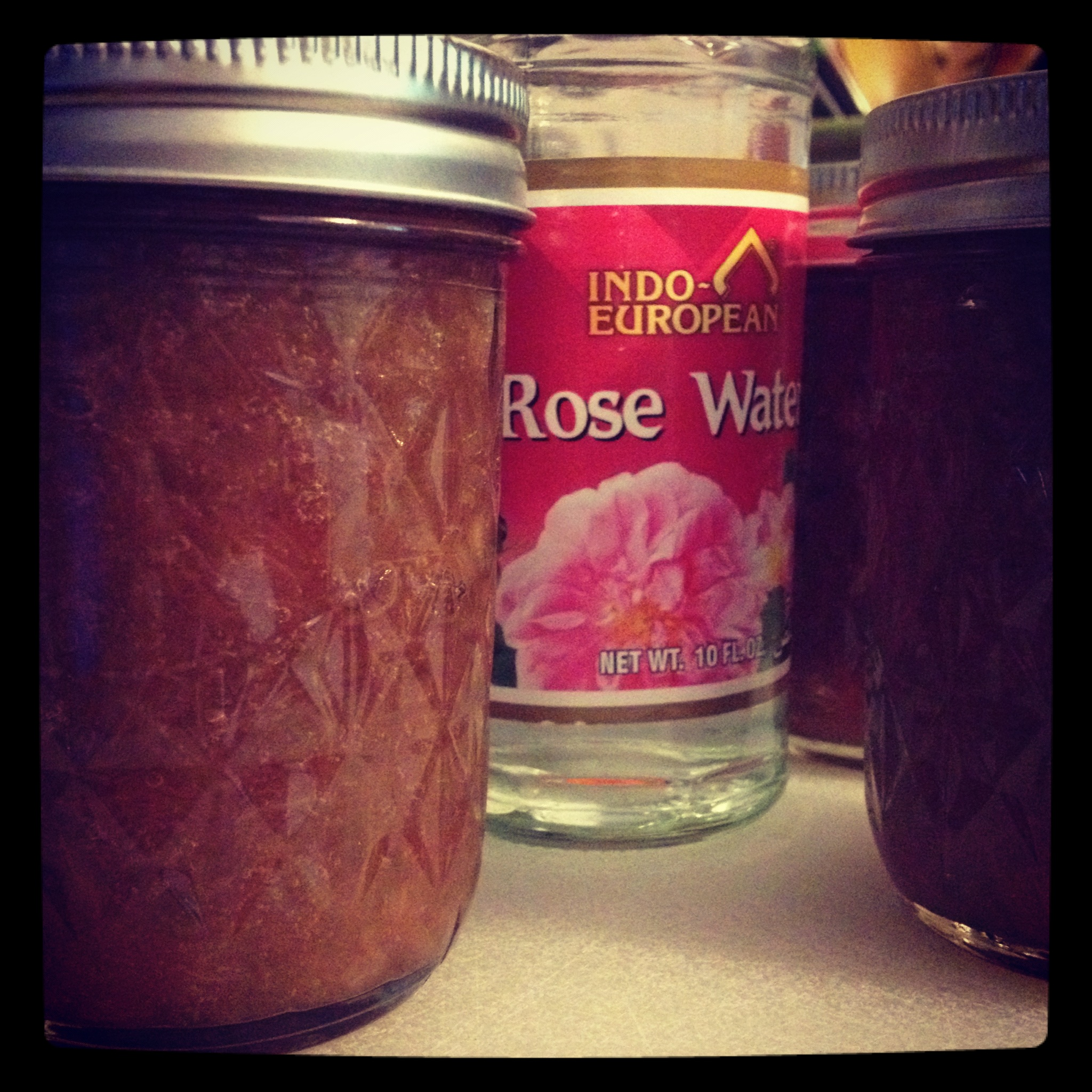 Rhubarb Rosewater Preserves (makes about 5 half-pints)