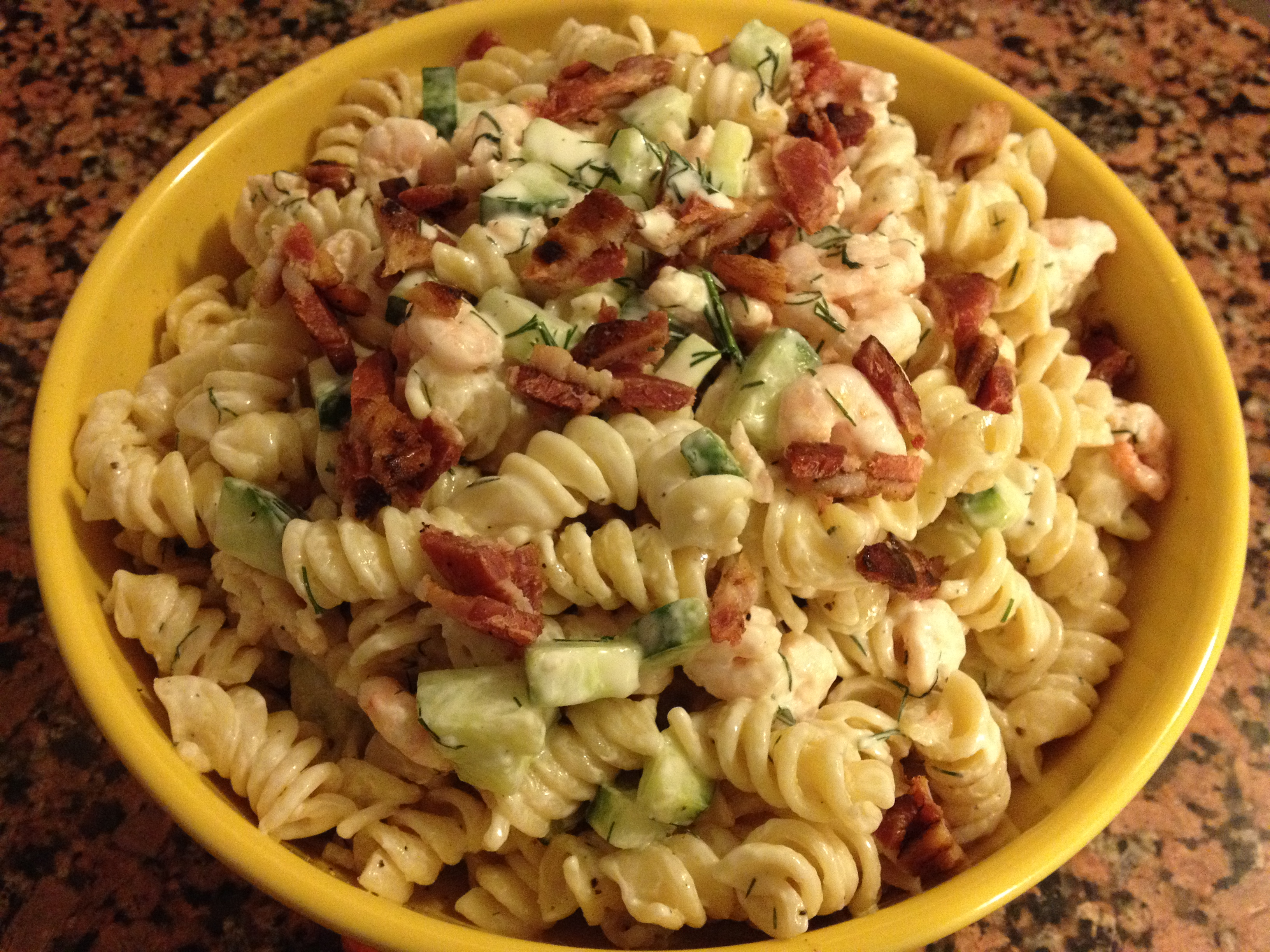 Pasta salad with shrimp & cucumber. | cook.can.read