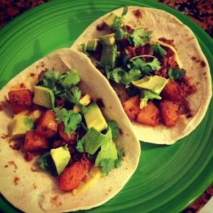 squash & chorizo tacos
