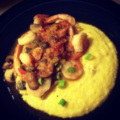 shrimp & veggies with polenta