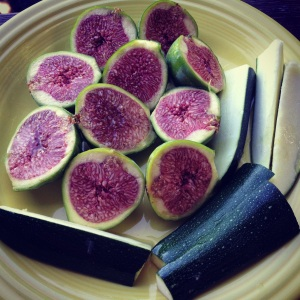 figs & zucchini ready for the grill