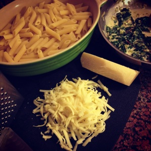 baked penne with fontina & greens