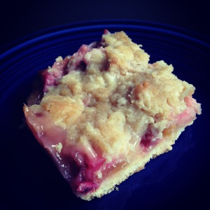square of delicious rhubarb-apple buckle