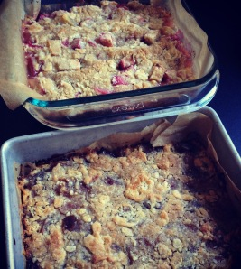 fresh apple-rhubarb buckle (top) and pie plum buckle (bottom)
