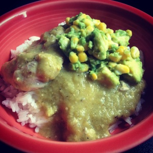 chicken thighs with roasted tomatillo sauce and avocado-corn salsa