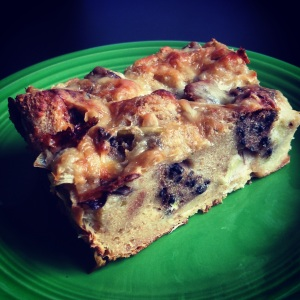 savory bread pudding with mushrooms, leeks & Gruyere
