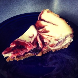 pretty & festive cherry swirl cheesecake