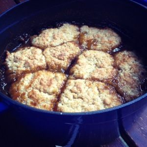 winter plum cobbler with star anise and vanilla