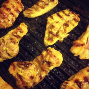 chicken satay made in a Lava ECO grill pan