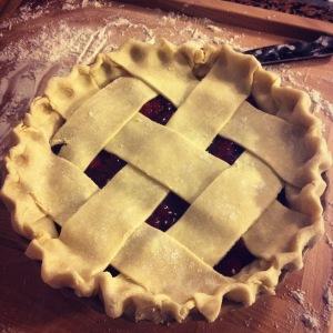 sour cherry rhubarb pie, ready to bake