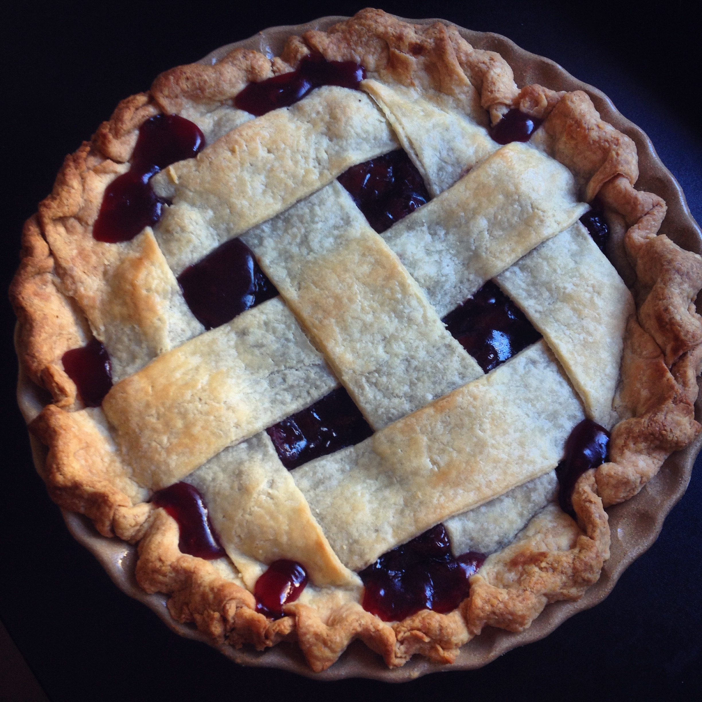 Sour cherry rhubarb pie. | cook.can.read