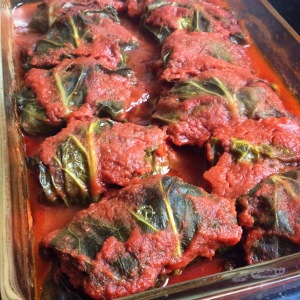Baked collard greens rolls, ready to eat