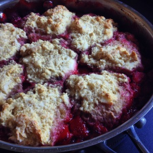 strawberry cobbler with cream cheese biscuits