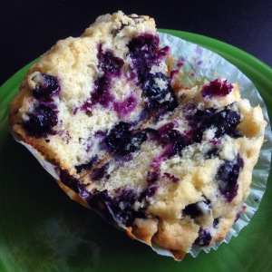 Mom's blueberry muffins: blueberries held together by muffin batter!