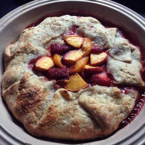 """sunrise"" galette with peaches and strawberries"