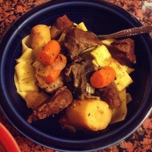 beefalo heart goulash served over egg noodles