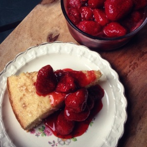 quick buttermilk cake with honey roasted strawberries