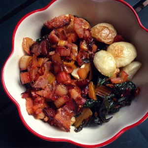 rainbow chard & roasted turnips with warm bacon dressing
