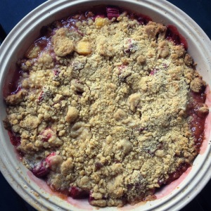 spring fruit crumble with strawberries, pineapple & rhubarb