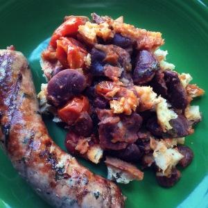 baked scarlet runner beans, grilled bratwurst