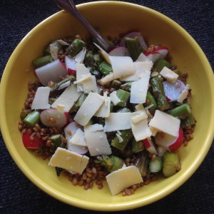 wheat berries with crisp vegetables and sharp cheese