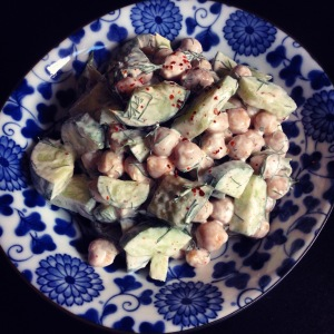 creamy chickpeas with dill and cucumber